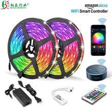 Fita LED sem fio com controle por telefone, wi-fi com faixa 5050 rgb, funciona com Amazon, Alexa, Google Home ifft DC 12V, Faixa de luz flexível + energia