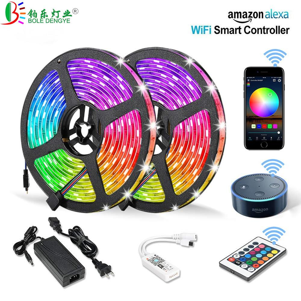 5050 rgb led strip telefone controle sem fio wi-fi fita funciona com amazon alexa google casa iffft dc 12 v flexível tira luz + energia