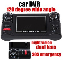 2.7 inch LCD Free Shipping Car DVR video Recorder camcorder 120 degree Wide Angle dual Lens SOS Emergency Night Vision