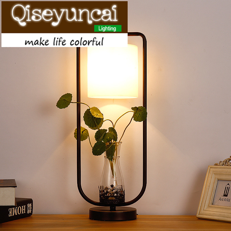 Qiseyuncai Creative personality simulation plant glass desk lamp, bedroom, bedside decoration, water culture desk lamp