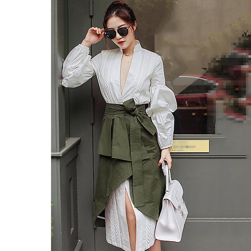 CHICEVER automne deux pièces ensemble femmes costume manches bouffantes chemise blanche avec taille haute irrégulière Midi jupe vêtements mode coréenne - 2