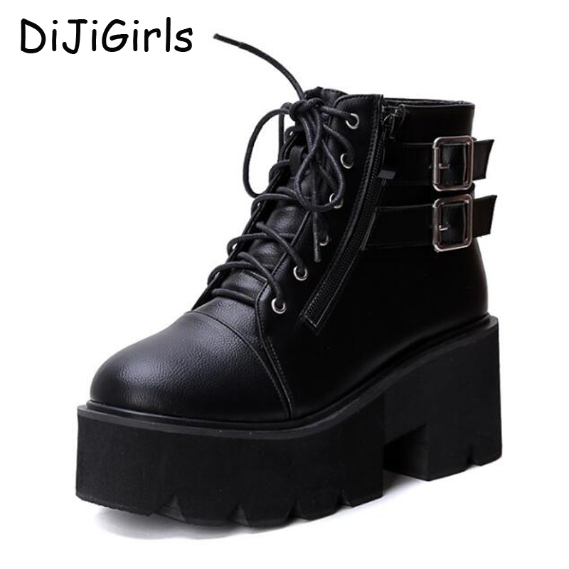 цены  lace up winter boots with fur women punk boots platform shoes woman wedges high heels ladies motorcycle women ankle boots C640