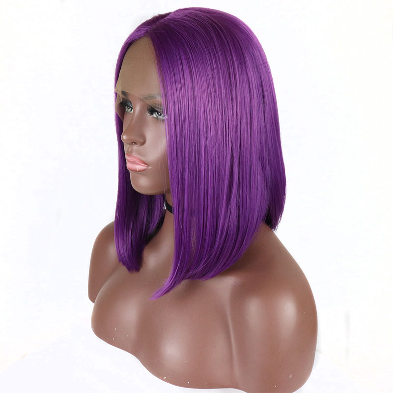 Bombshell Purple Short Bob Synthetic Lace Front Wig Glueless Straight Heat Resistant Fiber Hair Middle Part