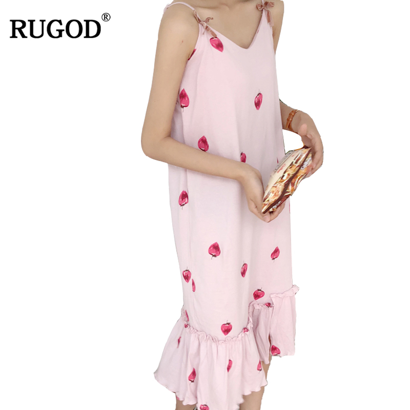 RUGOD 2018 nouveau mignon fraise femmes robe été automne offre spéciale sans manches Spaghetti sangle femme robe de soirée Empire vestidos