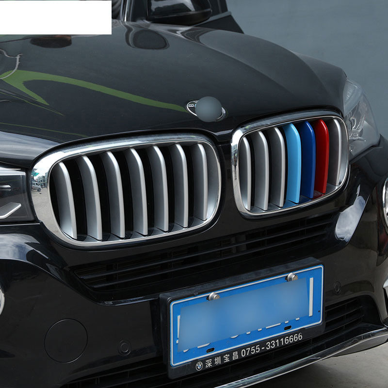 2 Style 14pcs ABS Chrome Front Grill Cover Sequins Trim For BMW X5 X6 F16 F15 2014 2015  ...