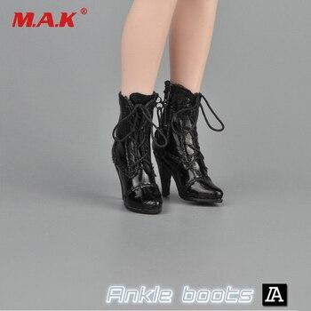 """ZY16-28 Preto/Cores Branco 1/6 Do Sexo Feminino Preto Sapatos Botas de Salto Alto Tornozelo-Com o Pé para 12 """"Mulher figura Do Corpo"""