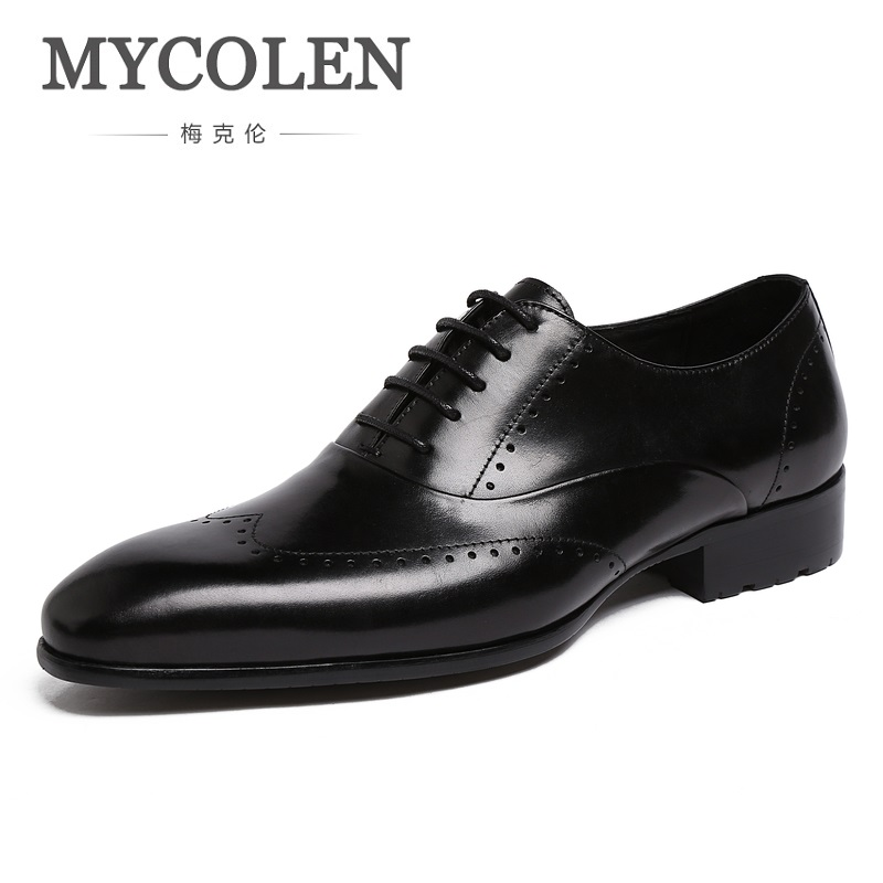 MYCOLEN New Bullock Carving Lace Up Mens Formal Shoes Oxfords Genuine Leather Square Toe Male Footwear Dress Shoes Herrenschuhe top quality crocodile grain black oxfords mens dress shoes genuine leather business shoes mens formal wedding shoes