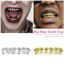 New Custom Fit Gold Teeth Hiphop Teeth Drip Dental Top&Bottom Tooth Caps Jewelry Party Wholesale Jewelry(China)