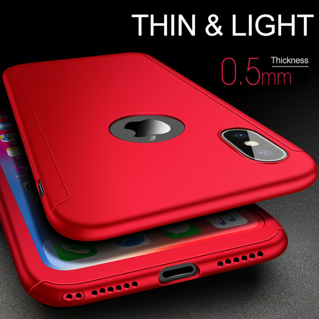 With tempered glass for iPhone XR XS Max X 10 case luxury 360 full cover phone case for iPhone XS MAX XR X screen protector case