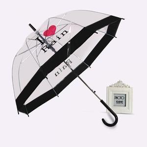 Image 5 - PALONY Transparent longue poignée pluie parapluie Ultra léger femmes enfants Parasol pluie parapluie semi automatique femelle parapluies