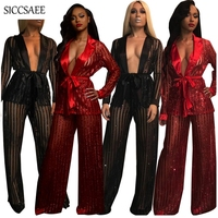 Wide Leg Palazzo Pants Suits Striped Sheer Blingbling Sexy Two Piece Set Cardigan Sexy Outfits Mesh Sashes Loose See Through