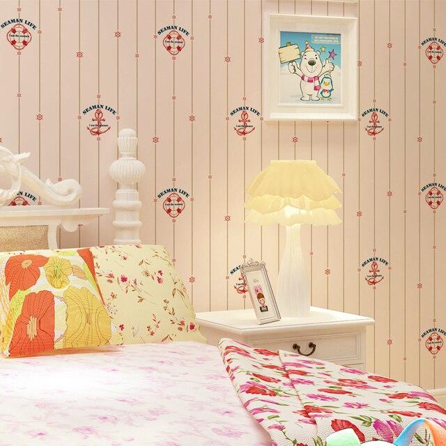 Kids\'room cartoon ship anchors park non woven Wallpaper Princess ...
