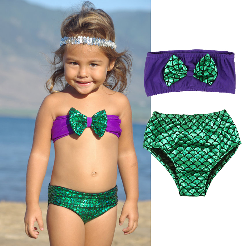 Little Girls 2pcs Swimmable Mermaid Tail Princess Bikini Swim Bathing Suit