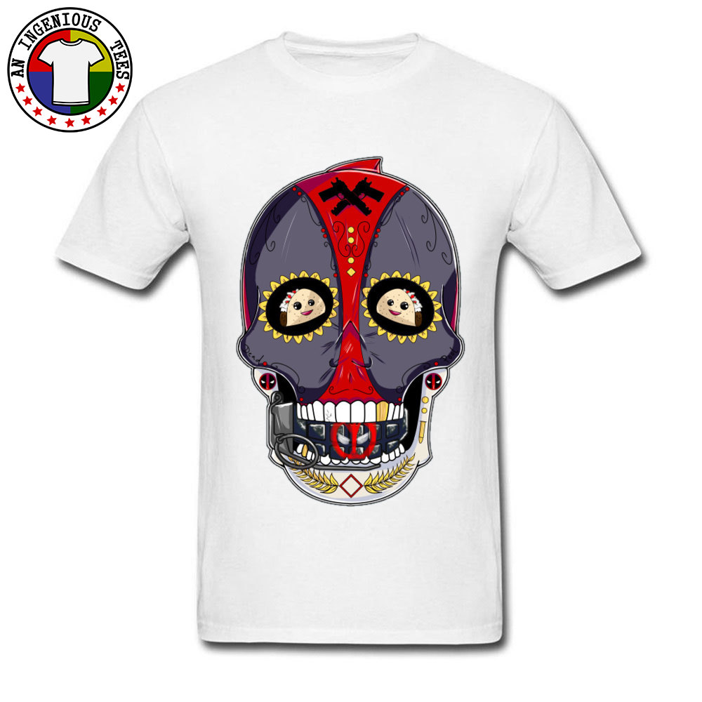 Tees Deadpool Sugar Skull 1226 T-Shirt Summer Fall Company Normal Short Sleeve All Cotton Round Neck Men's T-Shirt Normal Deadpool Sugar Skull 1226 white