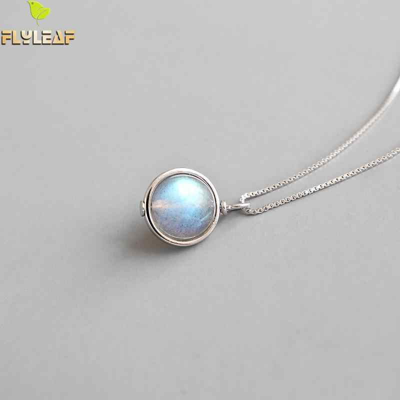 Flyleaf Moonstone Scroll Bead Necklaces & Pendants For Women Handmade 925 Sterling Silver Student Girl Fashion Jewelry