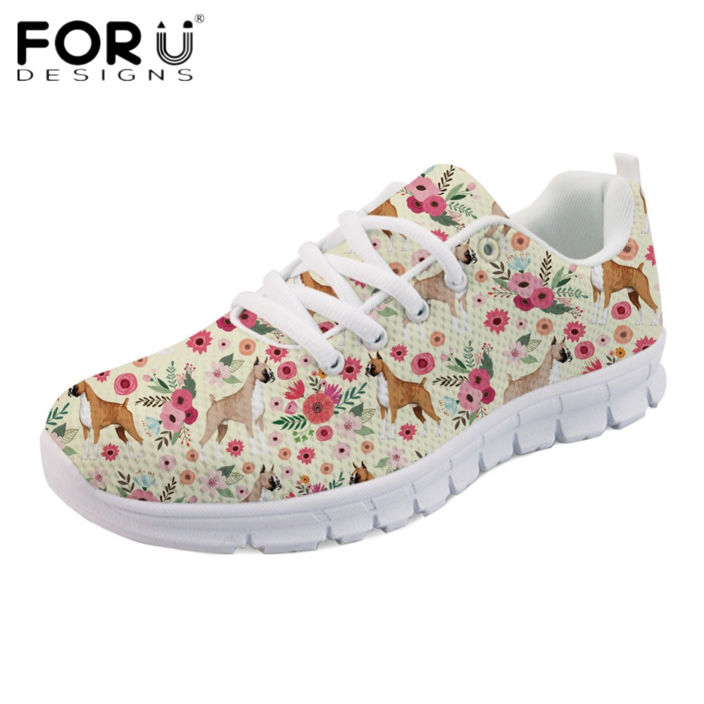FORUDESIGNS Kawaii Boxer Flower Casual Girls Flats Brand Designer Women Breathable Spring Mesh Flat Shoes Light Lace up Sneakers instantarts fancy flamingos women flat sneakers comfortable spring woman casual lace up flats air mesh breathable students shoes