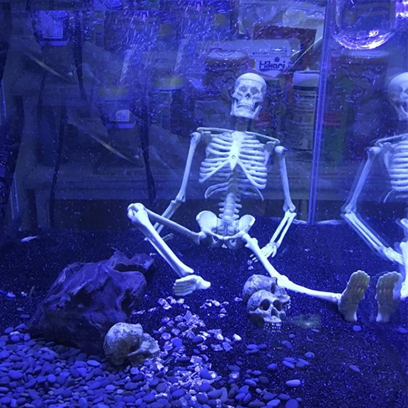 1Pcs Aquarium Human Skeleton Resin Fish Tank Skull Skeleton Resin Ornament Reptile Tank Fish Tank Aquarium Decoration