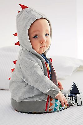 black and gray new cute hot Baby Boys Fleece Jumper Zipper Plain Zip Up Dinosaur Hoodie Hooded