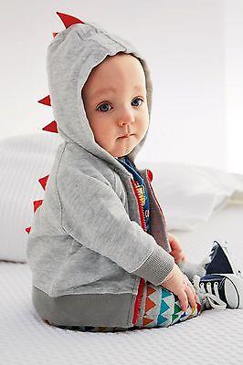 black and gray new cute hot Baby Boys Fleece Jumper Zipper Plain Zip Up Dinosaur Hoodie Hooded