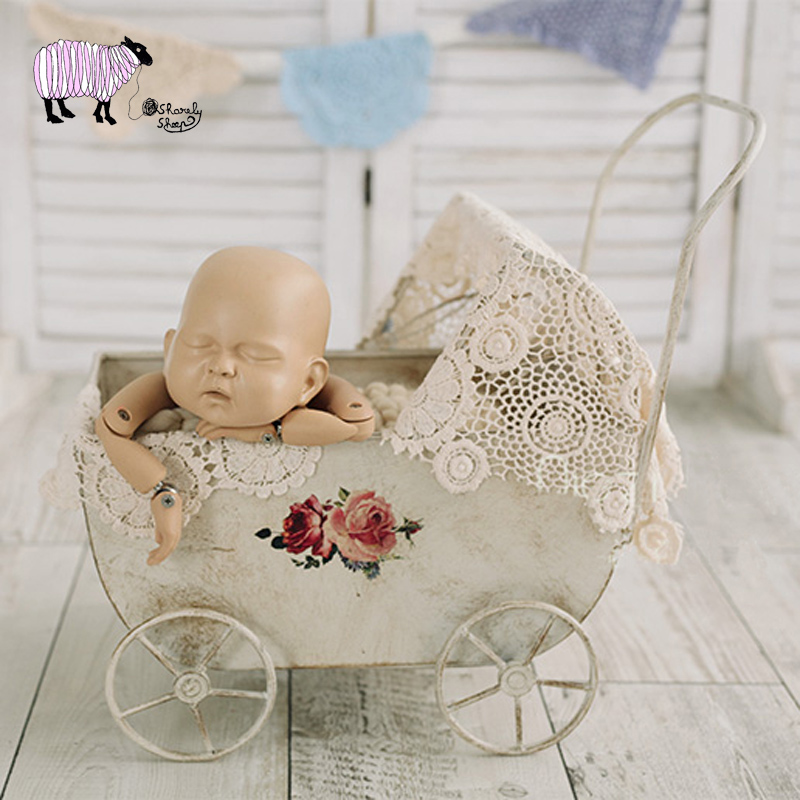 Newborn Baby Photography Iron Strollers Props Infant bebe fotografia Accessories Baby Girl Boy Photo Shoot Cars bed Basket Props newborn baby photo props accessories bear hat doll 2pcs sets infant bebe boy girl toy bonnet handmade