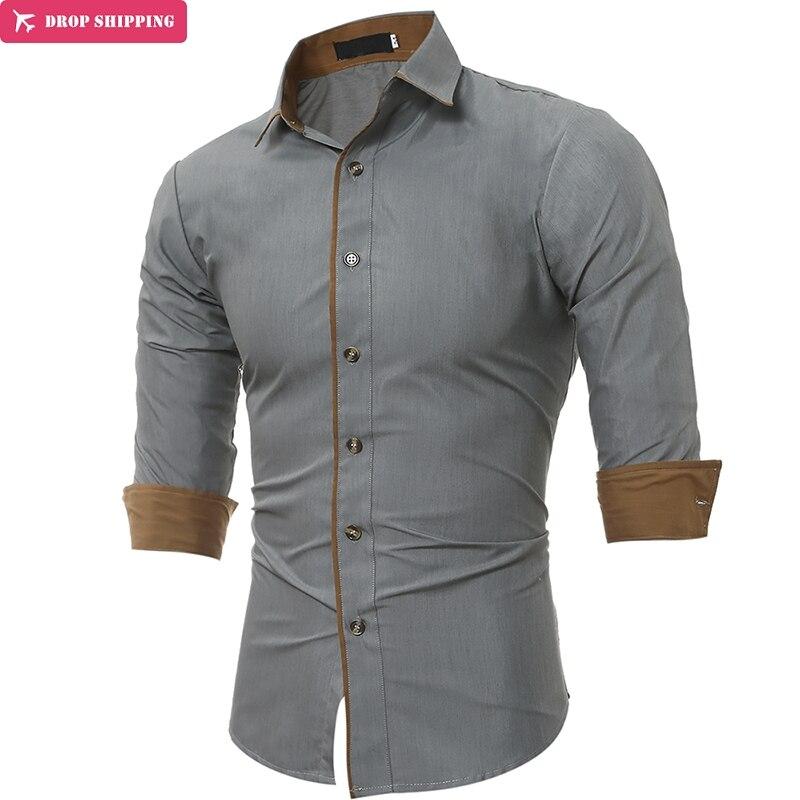 Classic Men'S Shirts Patchwork Cotton Long Sleeve Shirt Men High Quality Casual Male Social Shirts Slim Fit XXXL
