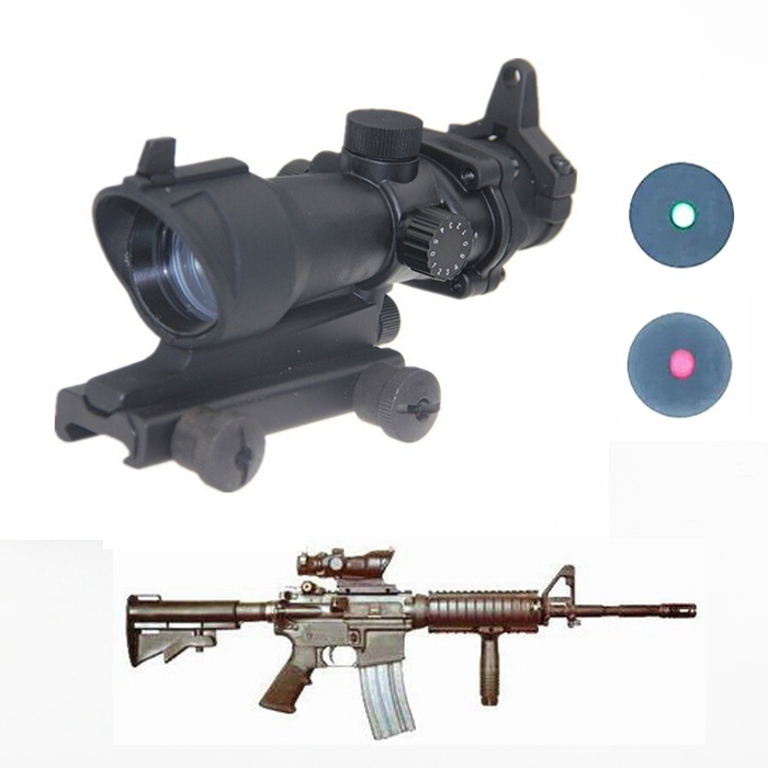Hot sell cheap Hunting Tactical Riflescope ACOG Type 1x32 Red/Green Dot Rifle Sight Scope With 22mm Mount Airsoft