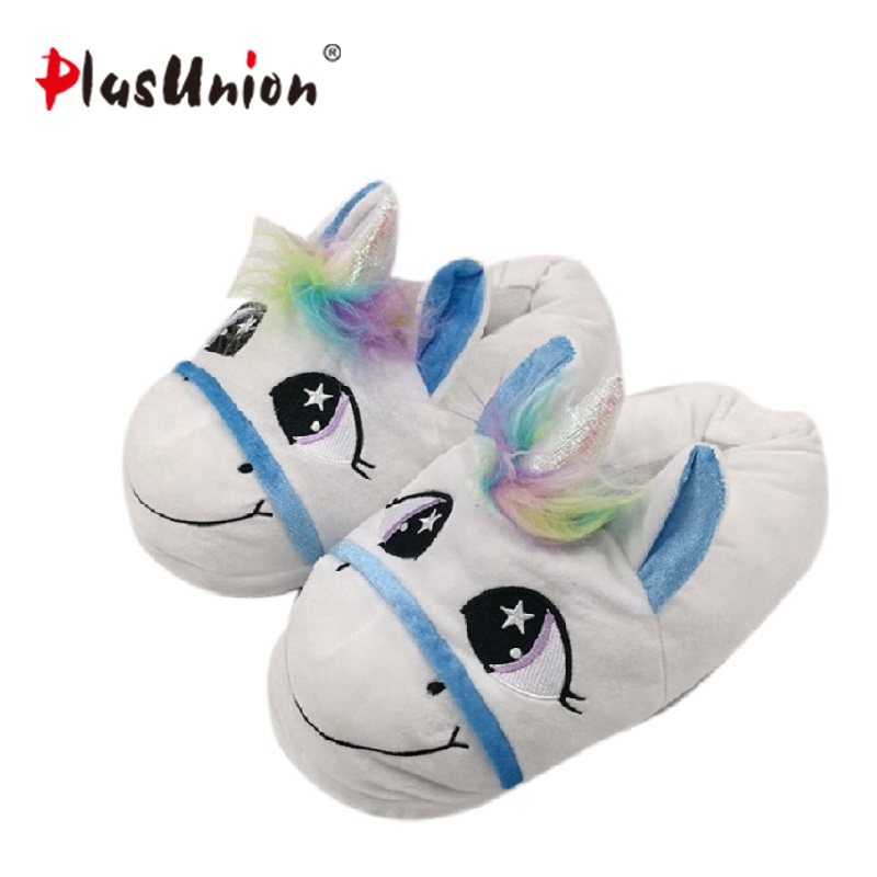 unicorn slippers indoor winter animal embroidered plush licorne slipper for women furry fur unisex shoes house home with faux hot adult warm cartoon cut slippers indoor winter animal flat furry fenty house women slipper with faux anime plush men shoes