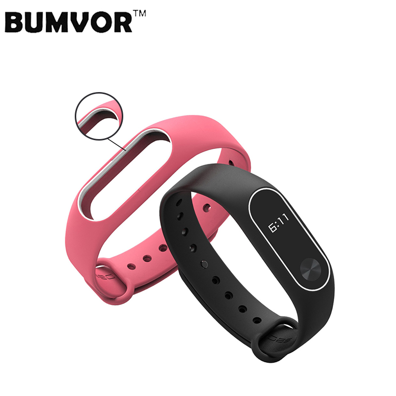 BUMVOR Colorful Silicone Wrist Strap Bracelet Double Color Replacement Watchband For  Miband 2 Xiaomi Mi Band 2 Wristbands