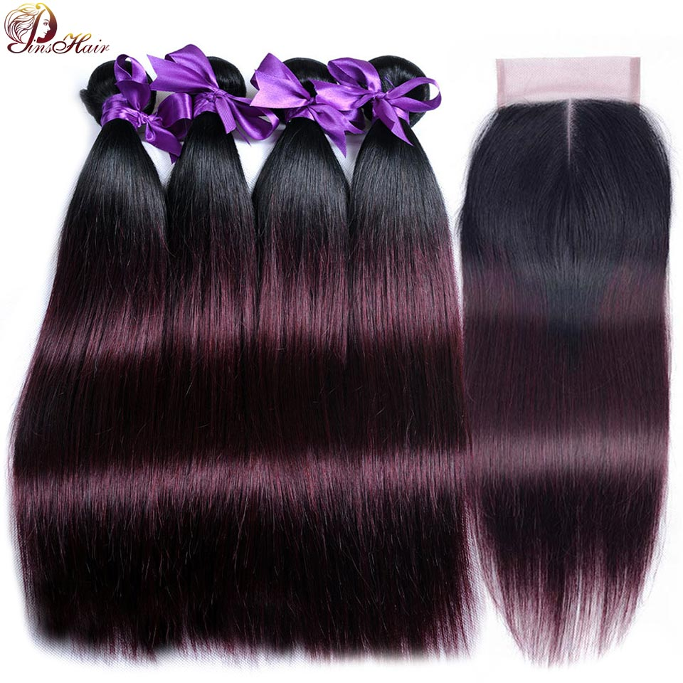 Ombre Bundles With Closure Straight Brazilian Hair 1B Burgundy Dark Root Pinshair Human Hair Weft 4 Bundle With Closure Non Remy