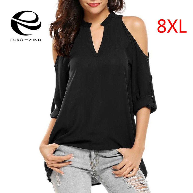 17cf9941ef1 Plus Size 8XL Women Tops and Blouse 2019 Summer Top Long Sleeve Solid Off  Shoulder Chiffon