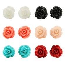 8 мм серьги гвоздики ручной работы в ассортименте цветов розы