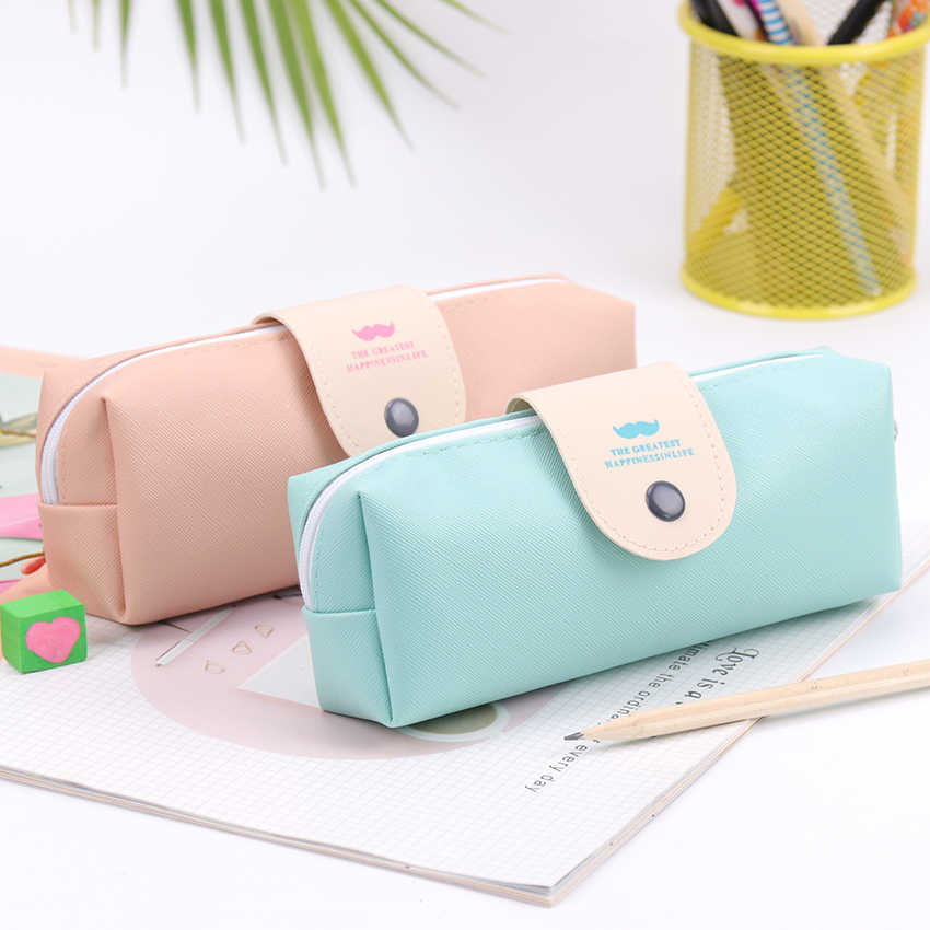 1PC Small Fresh Lovely Candy Color Mustache Pattern Pu Leather Pencil Bag Pencil Case Office School Stationery