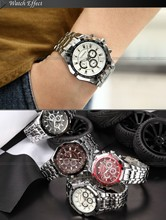 Brand Fashion Men's Full stainless steel Military Casual Sport Watch Waterproof Quartz Wristwatch