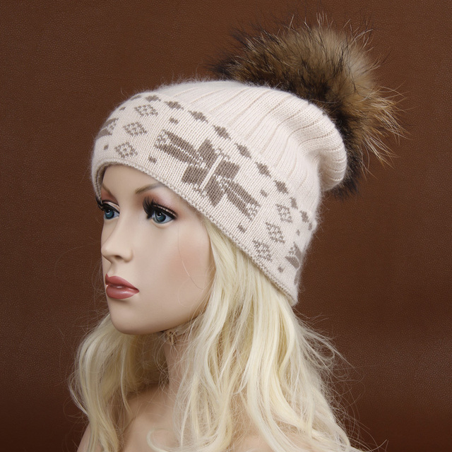 Free shipping, winter female knitted hat  wool hat fur ball hats for women.Skullies Beanies Fur Pom Poms.Thick wool blend hat