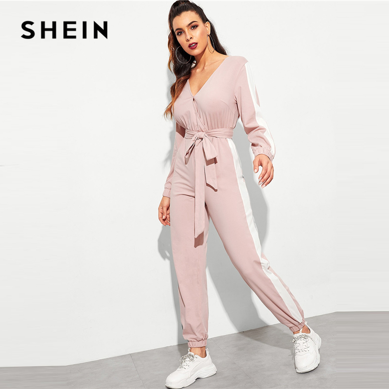 1e3735eaaaa Aliexpress.com   Buy SHEIN Hot Pink Contrast Side Seam Wrap Striped Mid  Waist Jumpsuit With Belt Women Maxi Deep V Neck Long Sleeve Jumpsuit from  Reliable ...