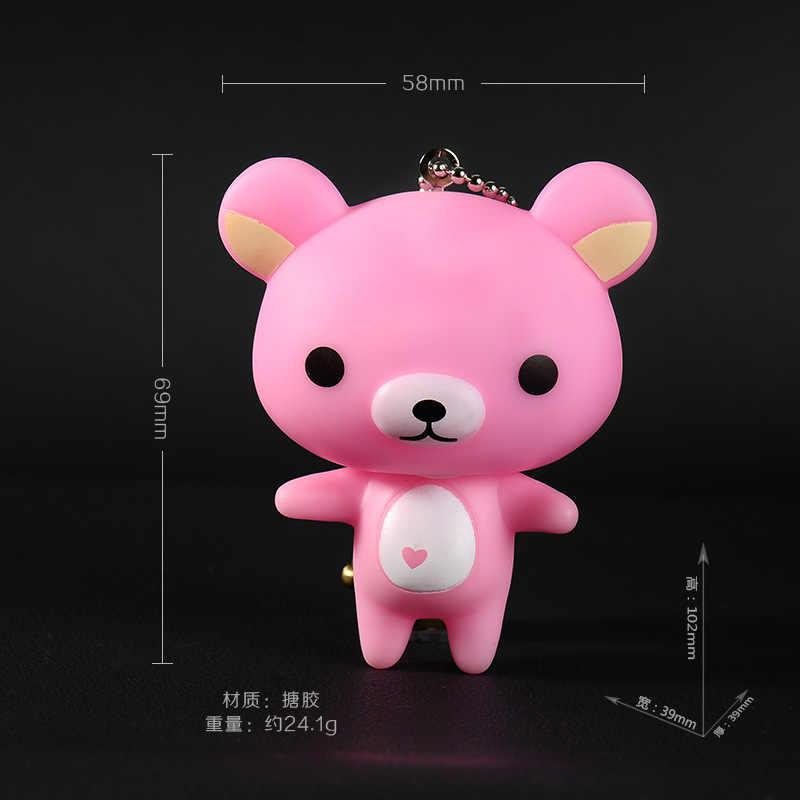 Fofo Fur Pom Pom Corrente Chave Bonito Pvc Fácil Urso Animal Keychain Corda de Metal Sino Anel Chave Llaveros Pompom Charme saco Do Presente Pingente