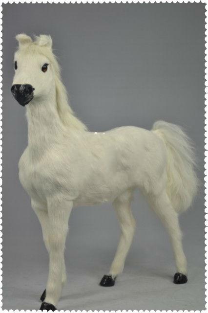 Nouveau blanc simulation 1:6 cheval de guerre jouet réaliste sang cheval poupée cadeau environ 36x34 cm