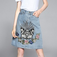 2017American Summer Autumn New Casual Vintage High Wasited A-Line Exquisite Cat Flowers Embroidery Light Blue Pocket Denim Skirt