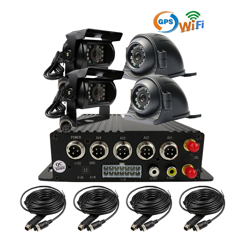 Free Shipping I/O H.264 4CH 256GB SD WiFi GPS Track Car DVR Video Recorder Rear Side Front View Metal Duty Car Truck Camera Kit free shipping 4ch gps 3g track h 264 i o 256gb sd car mobile dvr recorder mdvr realtime monitor for phone pc for truck van