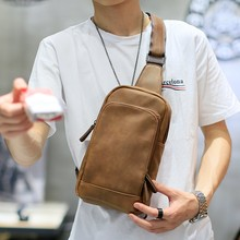 NEW Bag Men Chest Pack Single Shoulder Strap Back Bag High Quality PU Leather Travel Men Crossbody Bags Vintage Chest Bag(China)