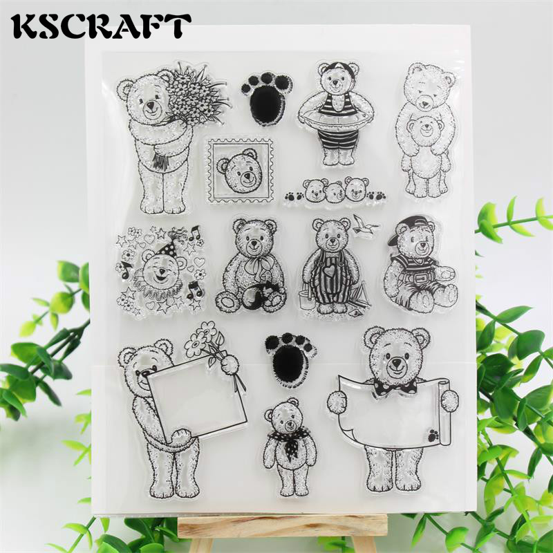 KSCRAFT Bears Transparent Clear Silicone Stamps for DIY Scrapbooking/Card Making/Kids Christmas Fun Decoration Supplies tools transparent clear silicone stamps for diy scrapbooking card making kids christmas fun decoration supplies