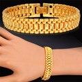 Hot Moda Amarelo Banhado A Ouro Pulseira Cadeia 19 cm de Comprimento 12 MM largura 1:1 Elo Da Cadeia de Ouro Para Homens/Mulheres Jóias Robusto Presente H450