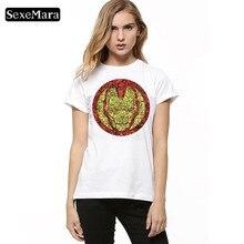 SexeMara Geometric Vision Iconography Print Casual tshirt summer top for women Harajuku Women