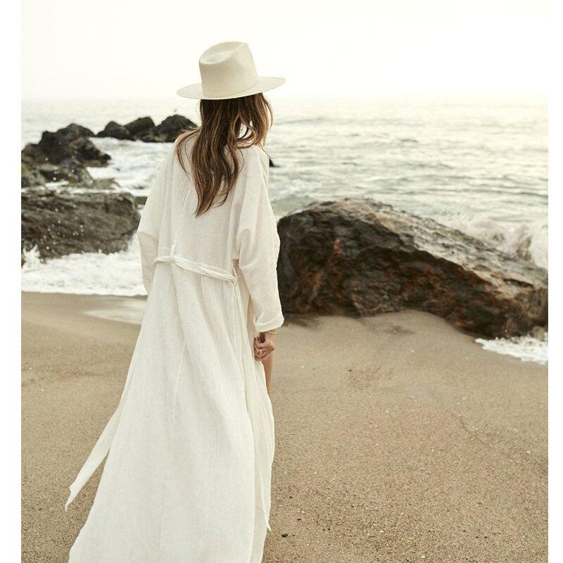 af7bdeb7dd9 Maxi Dresses For Women Beach Wear Dresses Summer 2019 White Dress Long  Sleeve Boho Clothing Ladies Belt Saida De Praia Frocks-in Dresses from  Women's ...