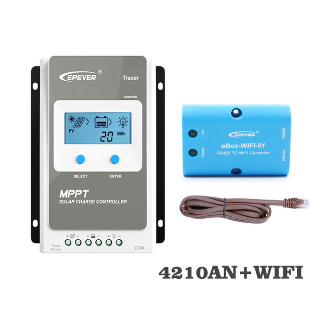 Tracer4210AN WIFI Mobile phone APP eBox 01 40A MPPT Solar Charge Controller  cell battery charger control 4210AN 4210A