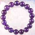 "Free Shipping Stretch 12mm Round Beads Natural Stone Purple Jade Bracelet 8"" 1Pcs LH1816"