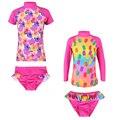 2 Pcs New Meninas UV SPF 50 + Proteção Solar Swimwear Garoto rosa Duas Peças Set Longo/Curto Flor de Manga e Picolés Swimsuit 2-8A