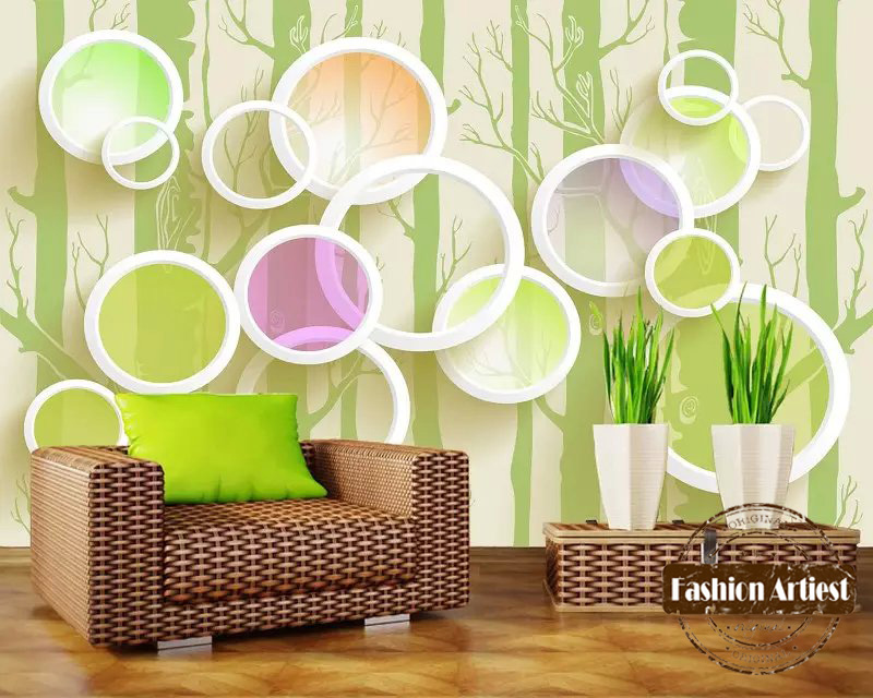 Kustom 3d warna hijau lingkaran pohon modern abstrak art wallpaper mural tv sofa kamar tidur ruang