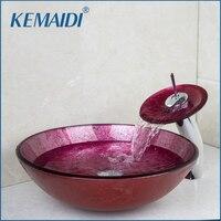 Kemaidi Ванная комната умывальник уникальный закаленное Стекло бассейна кран раковины набор столешницей Санузел сосуд раковиной Ванная комна