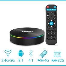 T95Q 4 GB 64 GB Android 8,1 LPDDR4 Amlogic S905X2 tv box 4 ядра 2,4G и 5 ГГц Wi-Fi BT4.1 1000 м H.265 4 K pk x96max Smart tv box